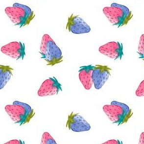 Watercolor Blue + Red Strawberries Toss