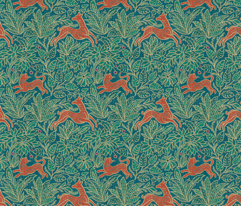 Small Fawn and Cat - Jungle fabric by byre_wilde on Spoonflower - custom fabric