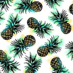 sketchy watercolor pineapple
