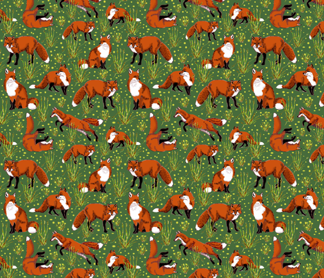 red_fox_and_dandelions fabric by leroyj on Spoonflower - custom fabric