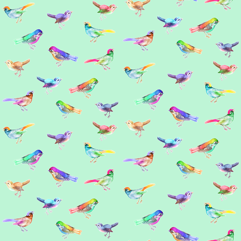 Songbirds LARGE Soft Mint fabric by thistleandfox on Spoonflower - custom fabric