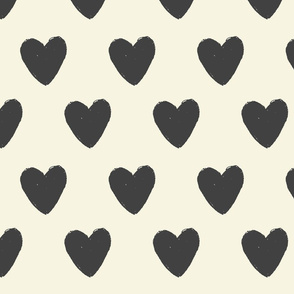 Black and Cream Oversized hearts