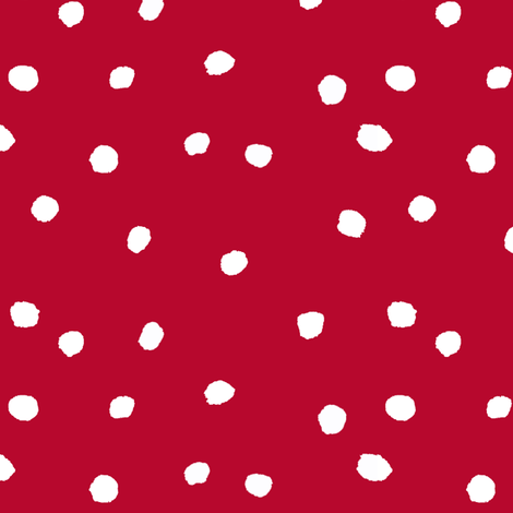 COTTON BALL DOTS Scarlet Red fabric by shi_designs on Spoonflower - custom fabric
