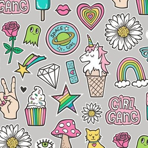 Patches Stickers Doodle Unicorn Ice Cream, Rainbow, Hearts, Stars, Gemstones, Love and Flowers on Grey
