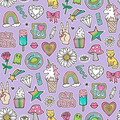 Patches Stickers 90's Doodle Unicorn Ice Cream, Rainbow, Hearts, Stars, Gemstones, Love and Flowers on Purple