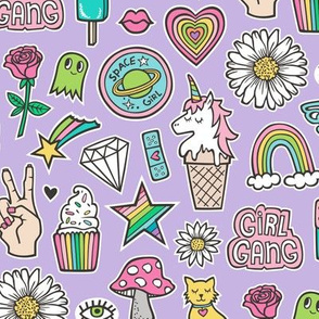 Patches Stickers 90's Doodle Unicorn Ice Cream, Rainbow, Hearts, Stars, Gemstones, Love and Flowers on Purple