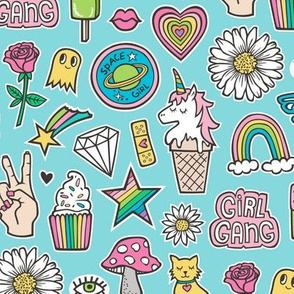 Patches Stickers 90's Doodle Unicorn Ice Cream, Rainbow, Hearts, Stars, Gemstones, Love and Flowers on Blue