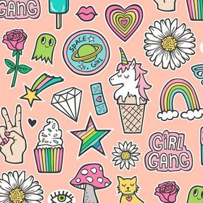 Patches Stickers 90's  Doodle Unicorn Ice Cream, Rainbow, Hearts, Stars, Gemstones, Love and Flowers on Peach