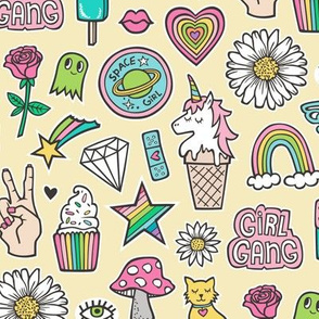 Patches Stickers 90's Doodle Unicorn Ice Cream, Rainbow, Hearts, Stars, Gemstones, Love and Flowers on Yellow