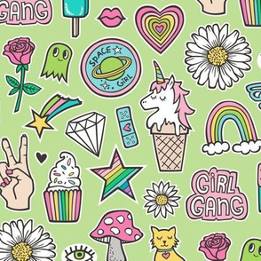 Patches Stickers 90's Doodle Unicorn Ice Cream, Rainbow, Hearts, Stars, Gemstones, Love and Flowers on Green