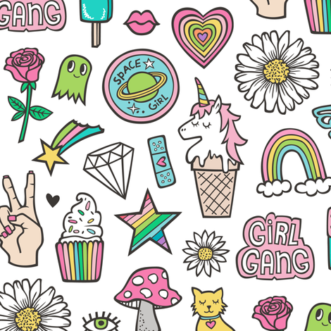Patches Stickers 90's Doodle Unicorn Ice Cream, Rainbow, Hearts, Stars, Gemstones, Love and Flowers on White fabric by caja_design on Spoonflower - custom fabric