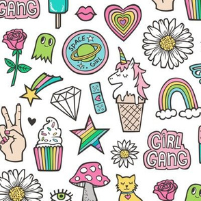 Patches Stickers 90's Doodle Unicorn Ice Cream, Rainbow, Hearts, Stars, Gemstones, Love and Flowers on White