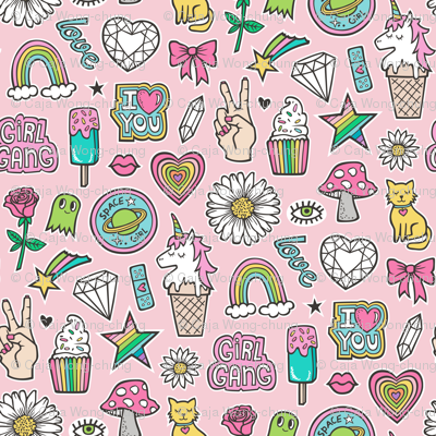 Patches Stickers 90's Doodle Unicorn Ice Cream, Rainbow, Hearts, Stars, Gemstones, Love and Flowers on Pink