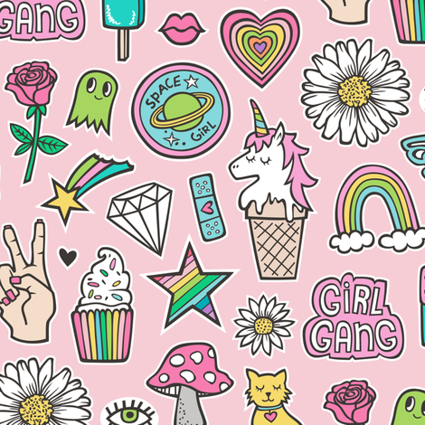 Patches Stickers 90's Doodle Unicorn Ice Cream, Rainbow, Hearts, Stars, Gemstones, Love and Flowers on Pink fabric by caja_design on Spoonflower - custom fabric