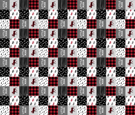 "3"" small scale (90) - little man patchwork quilt top 