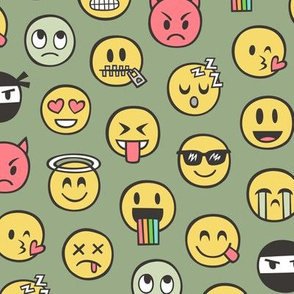Smiley Emoticon Emoji Doodle on Green