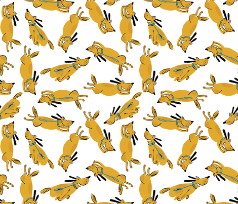 Running Hugo fabric by mummysam on Spoonflower - custom fabric