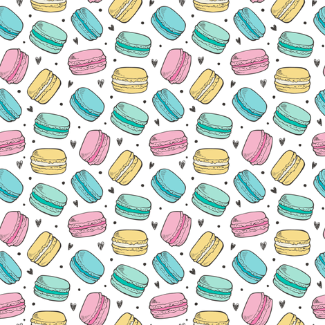 Macarons  and Hearts Sweets Candy Tiny Small Pink Blue Yellow fabric by caja_design on Spoonflower - custom fabric