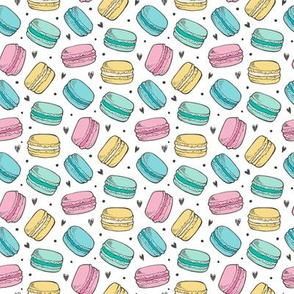 Macarons  and Hearts Sweets Candy Tiny Small Pink Blue Yellow