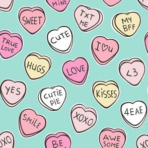 Conversation Candy Hearts Valentine Love on Mint Green