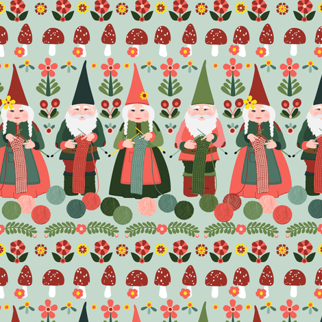knitting gnomes fabric by laura_mooney on Spoonflower - custom fabric