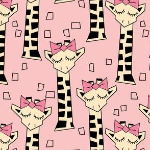 geometric giraffes with bows