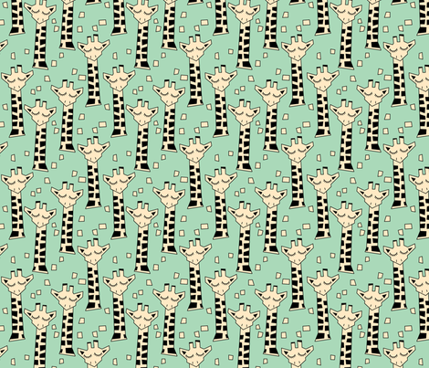 geometric giraffes on green fabric by lilcubby on Spoonflower - custom fabric