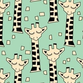 geometric giraffes on green