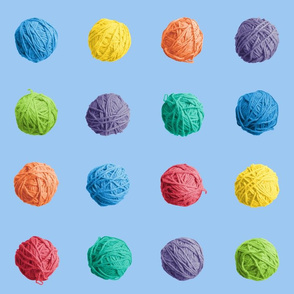 little yarn balls - rainbow