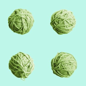 little yarn balls - fresh green on pale aqua