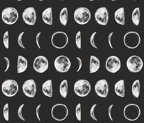 Moon Phases with Outline-Dark Charcoal fabric by ajoyfulriot on Spoonflower - custom fabric
