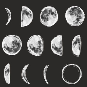 Moon Phases with Outline-Dark Charcoal