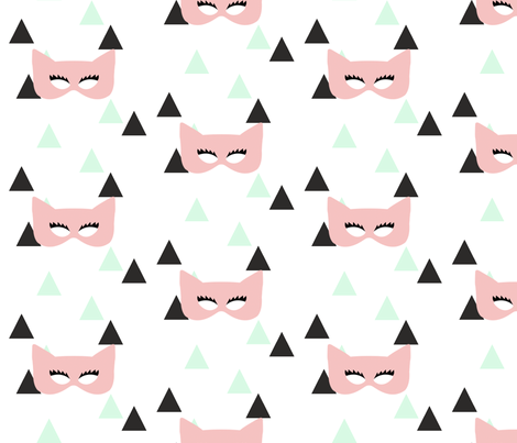 Girly Masks on Triangles fabric by ajoyfulriot on Spoonflower - custom fabric