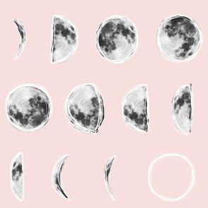 Moon Phases with Sketched Outlines - Pink