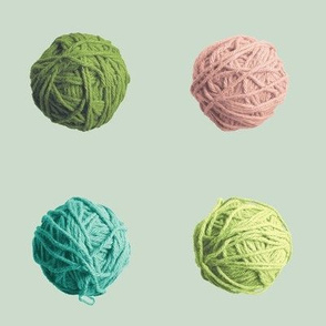 little yarn balls - green, pink, teal
