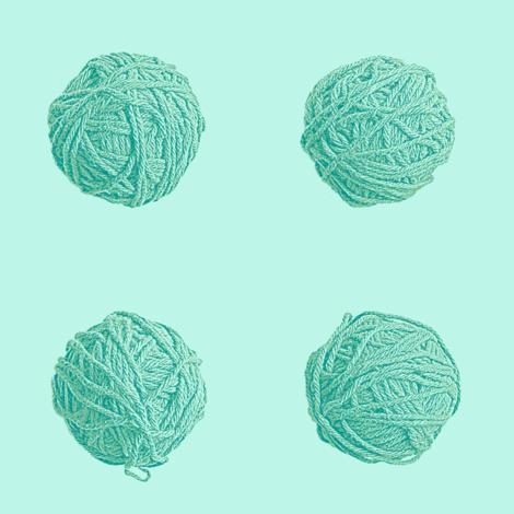little yarn balls - surf teal fabric by weavingmajor on Spoonflower - custom fabric