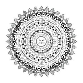 Cat Mandala in Black and White
