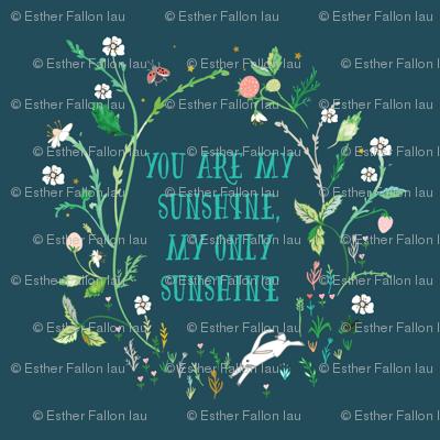 "You are my sunshine (midnight) 18"" sq. panel"