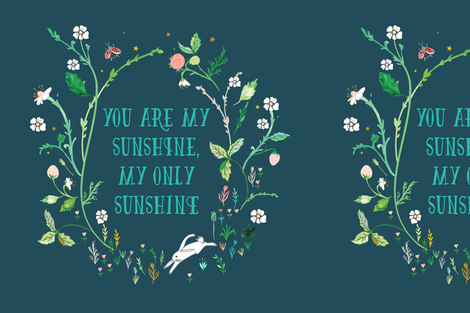 """You are my sunshine (midnight) 18"""" sq. panel fabric by nouveau_bohemian on Spoonflower - custom fabric"""