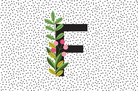 Letter F - New baby girl - Monogram lovey - monogram blanket fabric by erin__kendal on Spoonflower - custom fabric