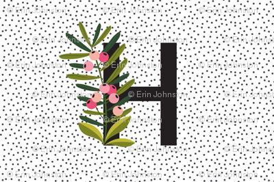 Baby girl - Blanket - Blooms - Letter H - Monogram letters