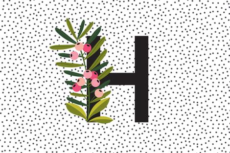 Baby girl - Blanket - Blooms - Letter H - Monogram letters fabric by erin__kendal on Spoonflower - custom fabric