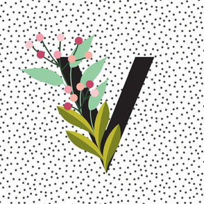 Blooms - Letters - Garden - Monogram - V