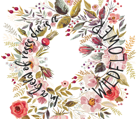 Little girls quote In a Field of Roses She is a Wildflower fabric by erin__kendal on Spoonflower - custom fabric