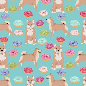 shiba inu donuts fabric cute pastel dog fabric - blue tint