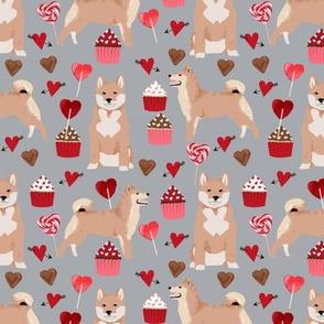shiba inu valentines love dog fabric cute shiba inu design - grey