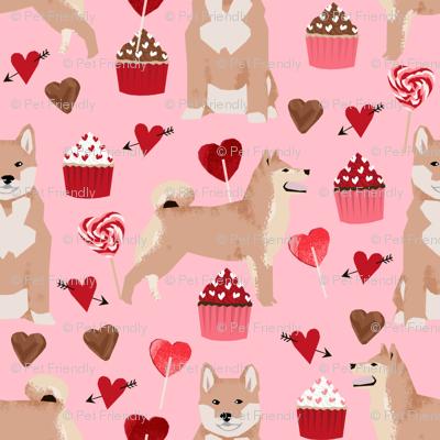 shiba inu valentines love dog fabric cute shiba inu design - blossom