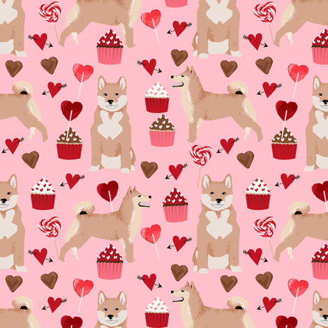 shiba inu valentines love dog fabric cute shiba inu design - blossom fabric by petfriendly on Spoonflower - custom fabric