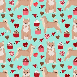 shiba inu valentines love dog fabric cute shiba inu design - aqua