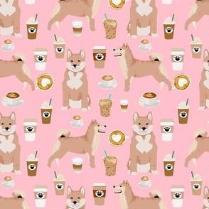 shiba inu coffee fabric shiba inu dogs design - blossom pink